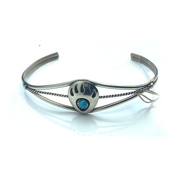 Sterling Silver Open Cuff Bear Paw Round Turquoise