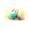 Sterling Silver V Shape Cuff With Oval Turquoise