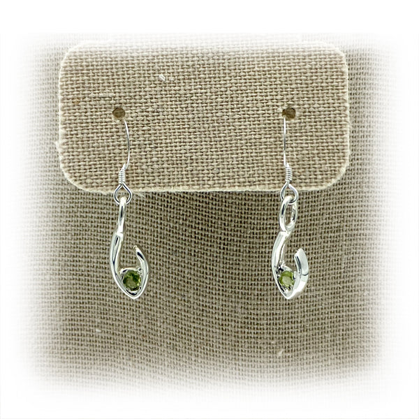 JimeyeDesign Flame of Life earrings in Green Peridot (Small)