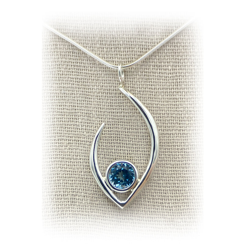JimeyeDesign Flame of Life Pendant Blue Topaz Big