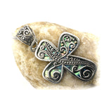 Fancy Cross & Abalone Sterling Silver Pendant