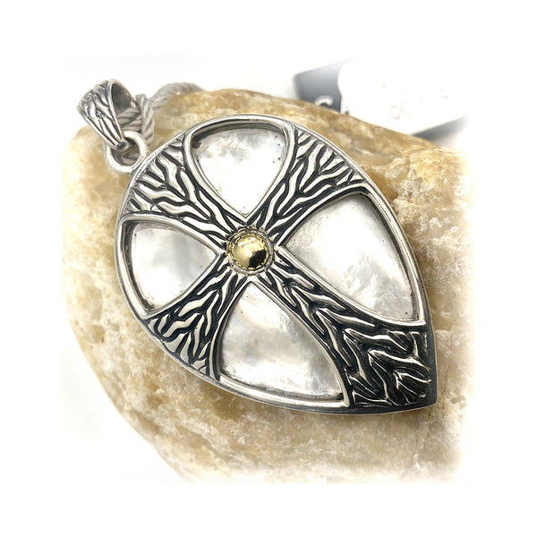 Sterling Silver Pear Shape Mother Of Pearl Cross Pendant
