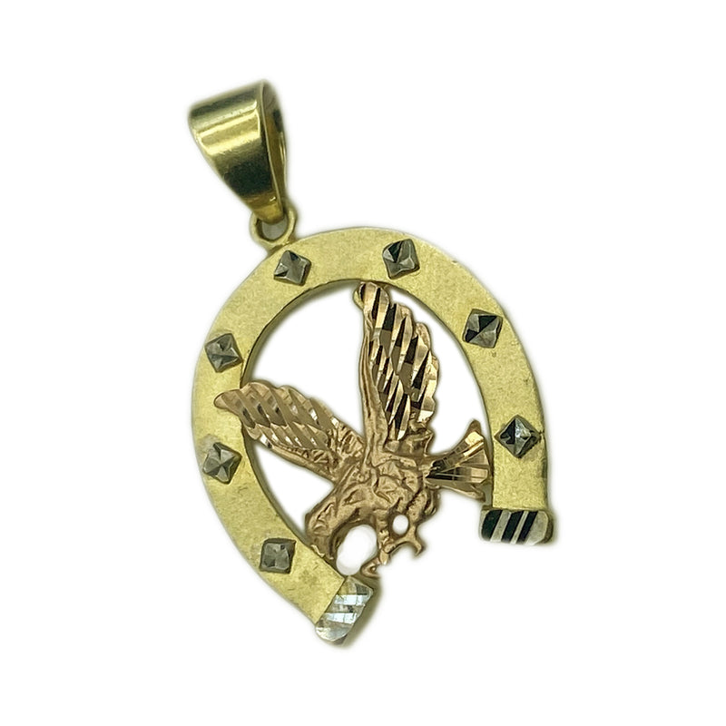 14K Tri-color Horseshoe & Eagle Pendant