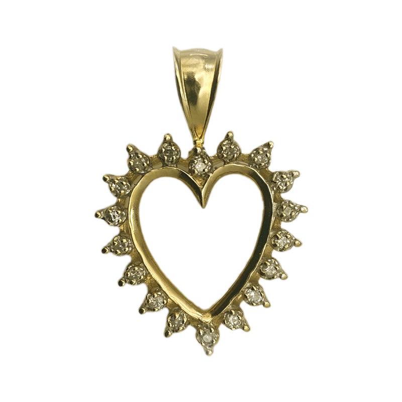 14k Open Heart Diamond Pendant