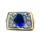 14K Oval Blue Stone & Cubic Zirconia Ring