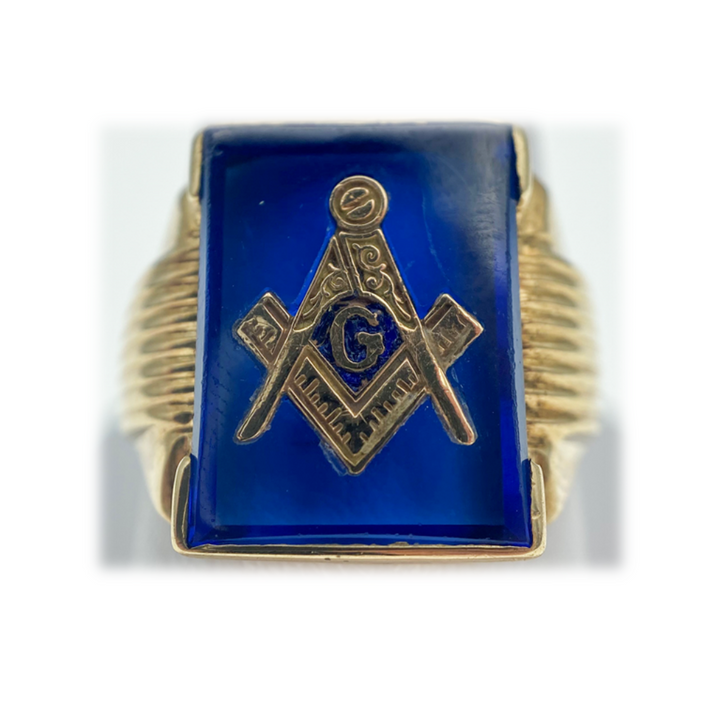 10K Vintage Masonic Blue stone Ring