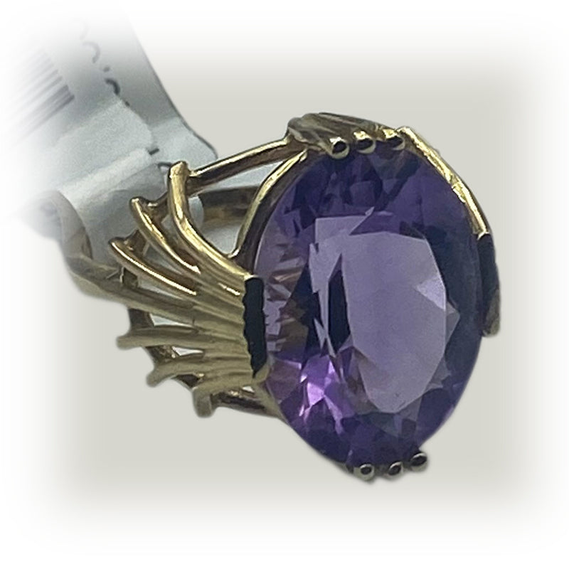 14k Large Amethyst Statement Ring