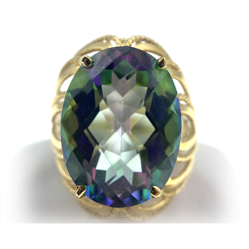 14K Large Mystic Topaz Ring