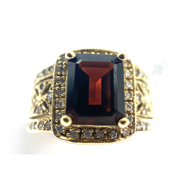 14K Vintage Inspired Garnet & Diamond Ring