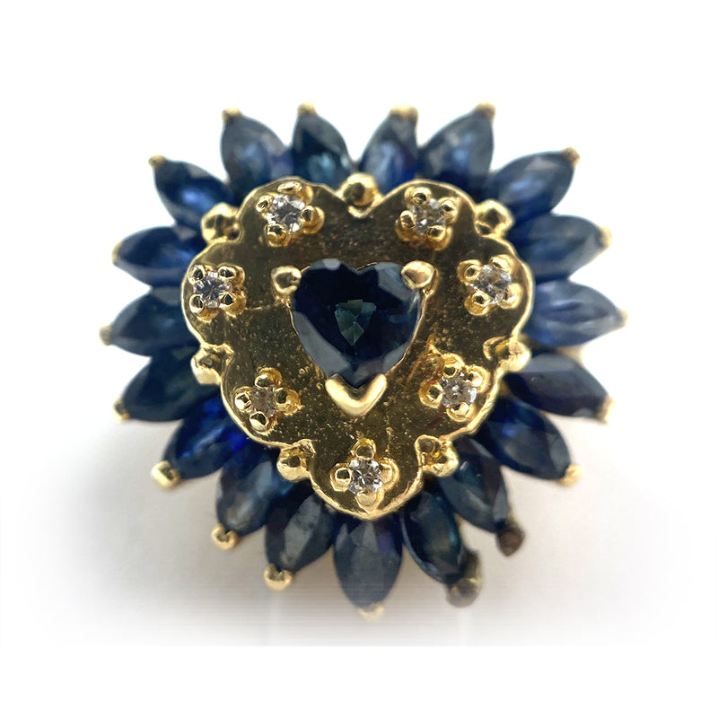 14K Vintage Heart Shape Sapphires & Diamonds Ring