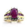 14k Oval Ruby Stone & Diamond Ring
