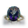 10K Oval Mystic Topaz & Diamonds Ring