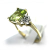 14k Vintage Emerald Cut Peridot & Diamonds Ring
