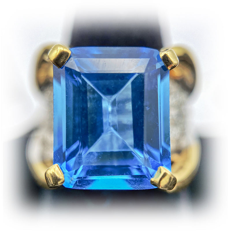 14K Floating Style Emerald Cut Blue Topaz with Diamonds