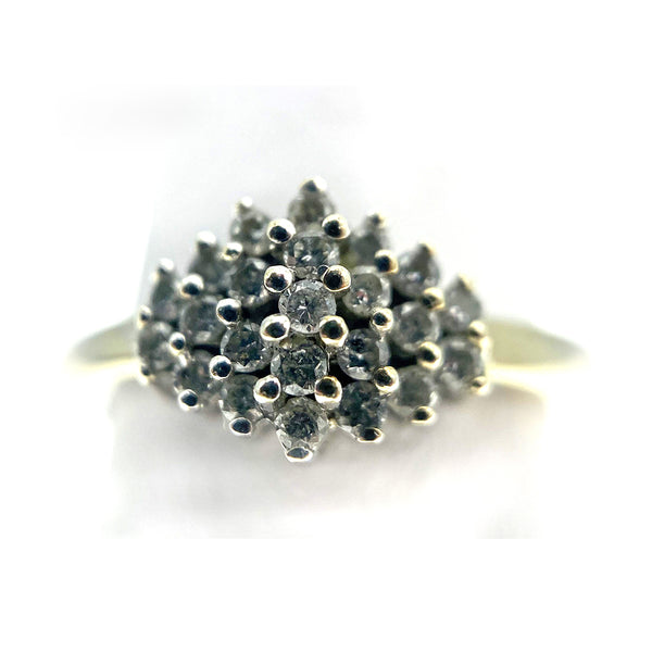 10K Marquise Style Diamond Cluster Ring