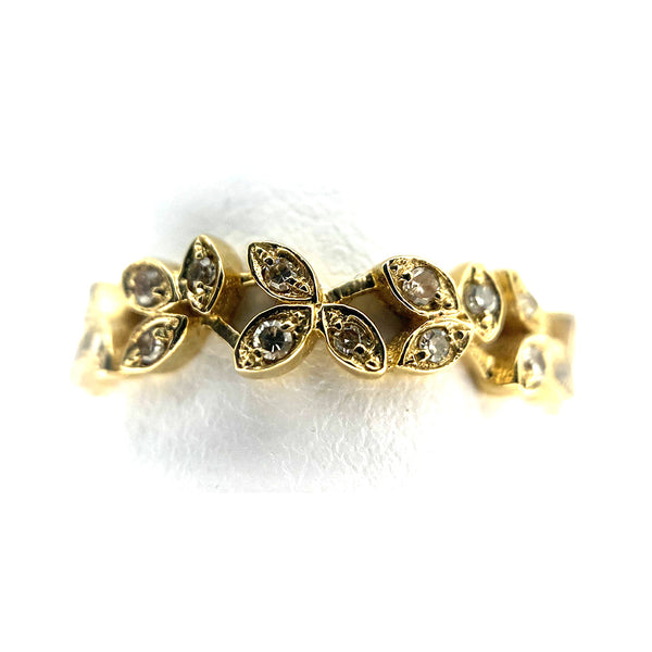 14K Leaf Style Diamond Band