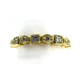 14K Square & Round Diamond Band