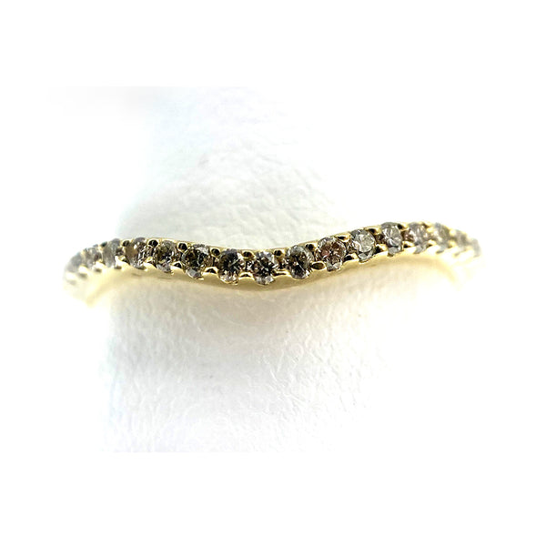 14K Curved Pave Diamond Band