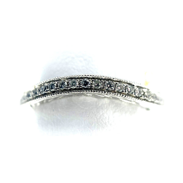 14k Pave Milgrain Diamond Wedding Band