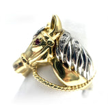 14K Horse Head Ruby & Diamond Ring