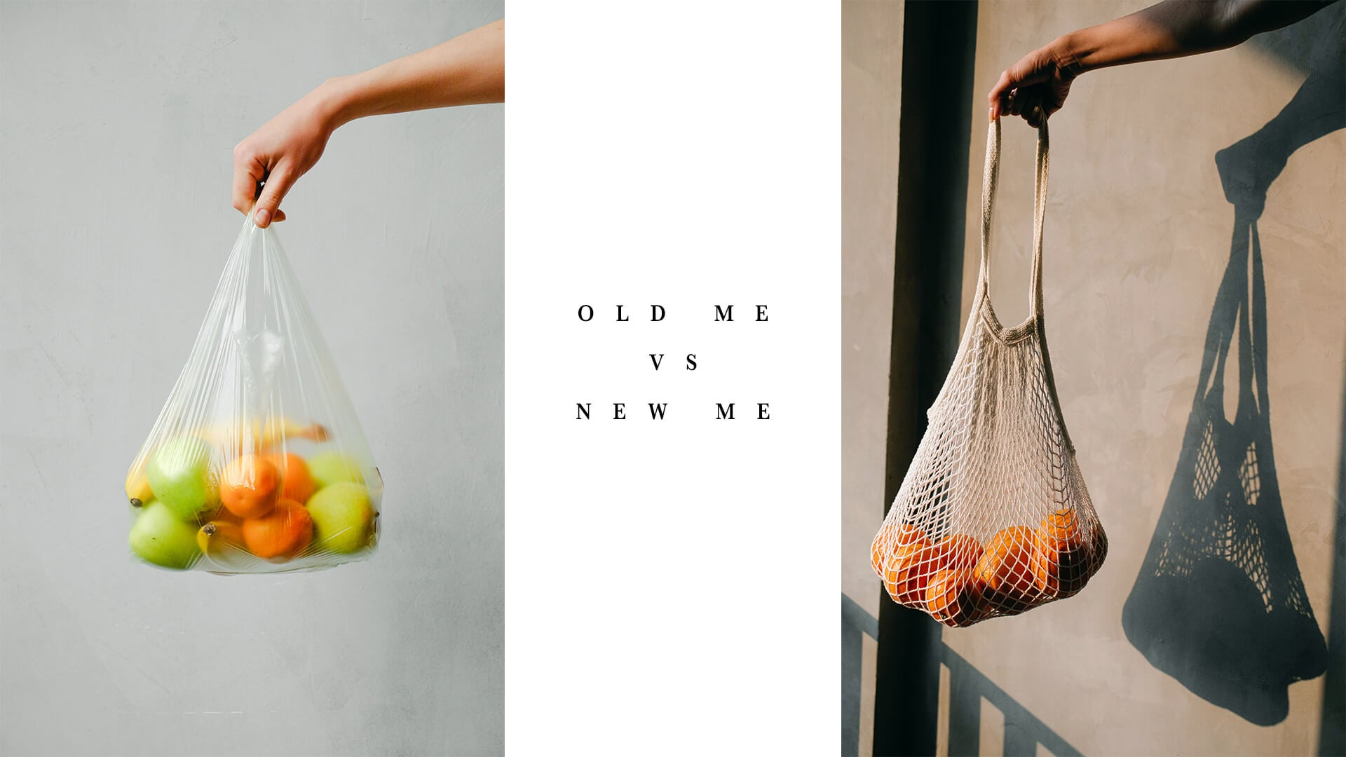 Plastic bag filled with fruits and eco friendly bag filled with fruits