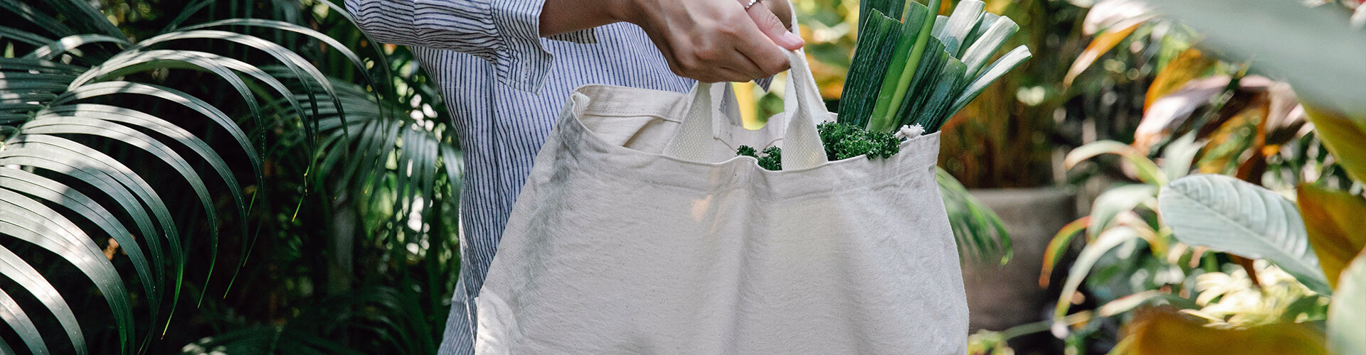 Woman with environmentally friendly bag