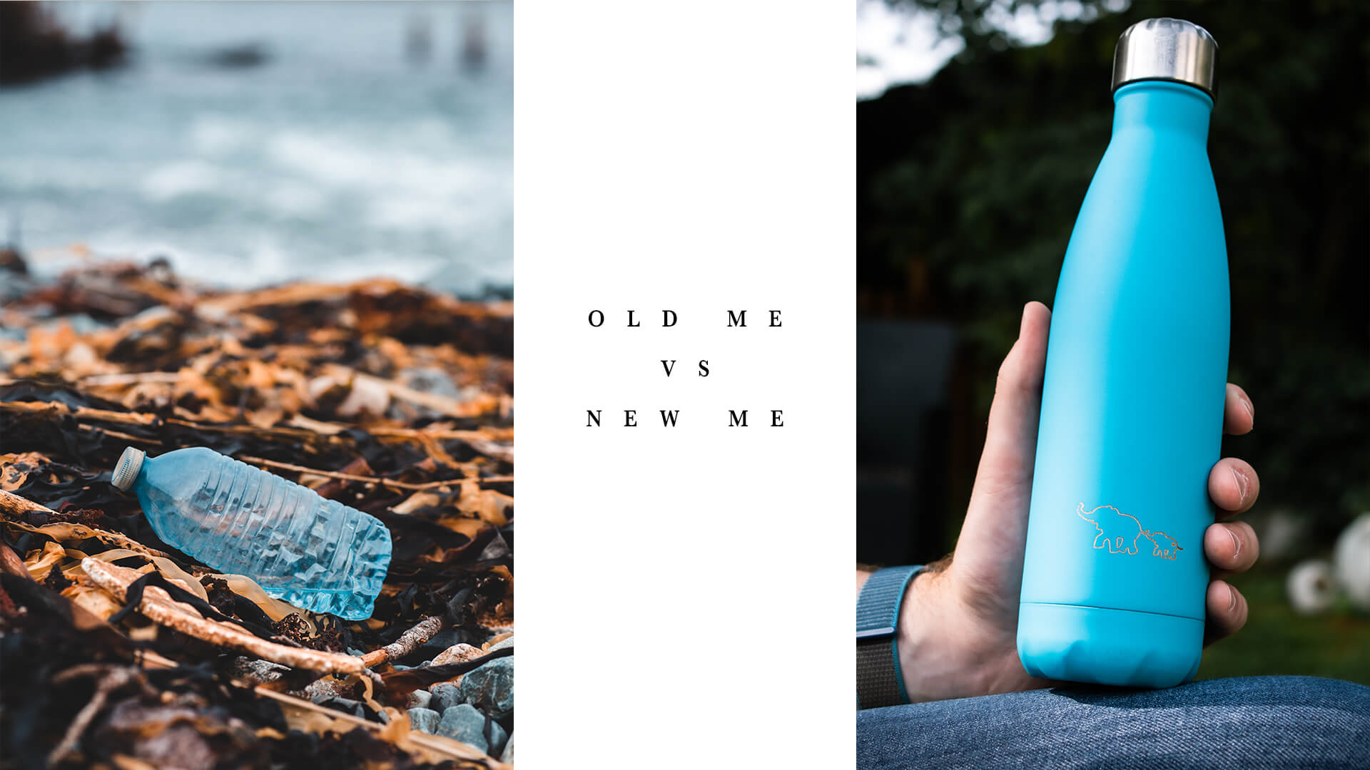Plastic bottle pollution and environmentally friendly reusable water bottle