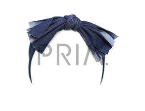 DENIM ROLLED BOW HEADWRAP