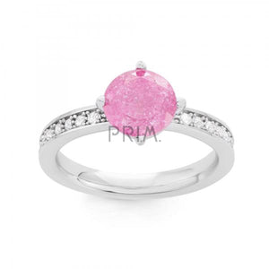 SS PINK ICE CENTER WITH CZ RING