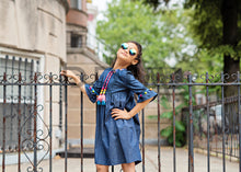 Load image into Gallery viewer, TEELA DENIM BOHEMIAN BABY DOLL DRESS