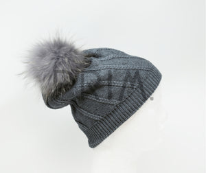 WIDE RIBBED POM POM HAT