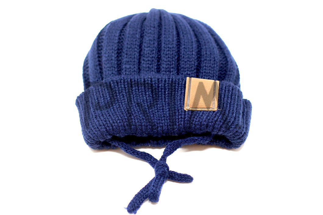 KNIT HAT WITH SUEDE TAB