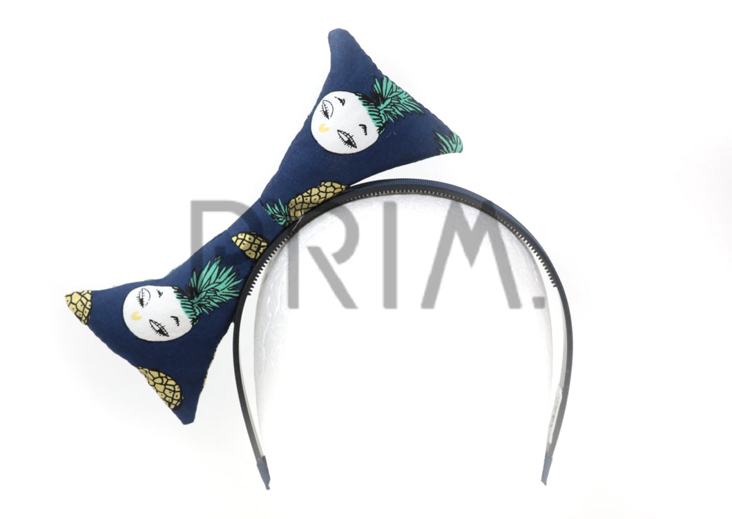 PINEAPPLE PRINT PUFFY BOW HEADBAND