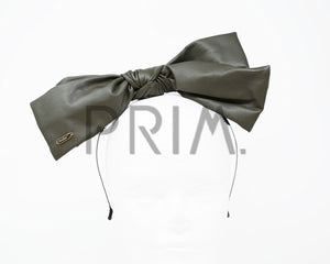 LEATHER FLUFFY BOW HEADBAND