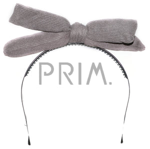 SUEDE RIBBED PUFFY BOW HEADBAND