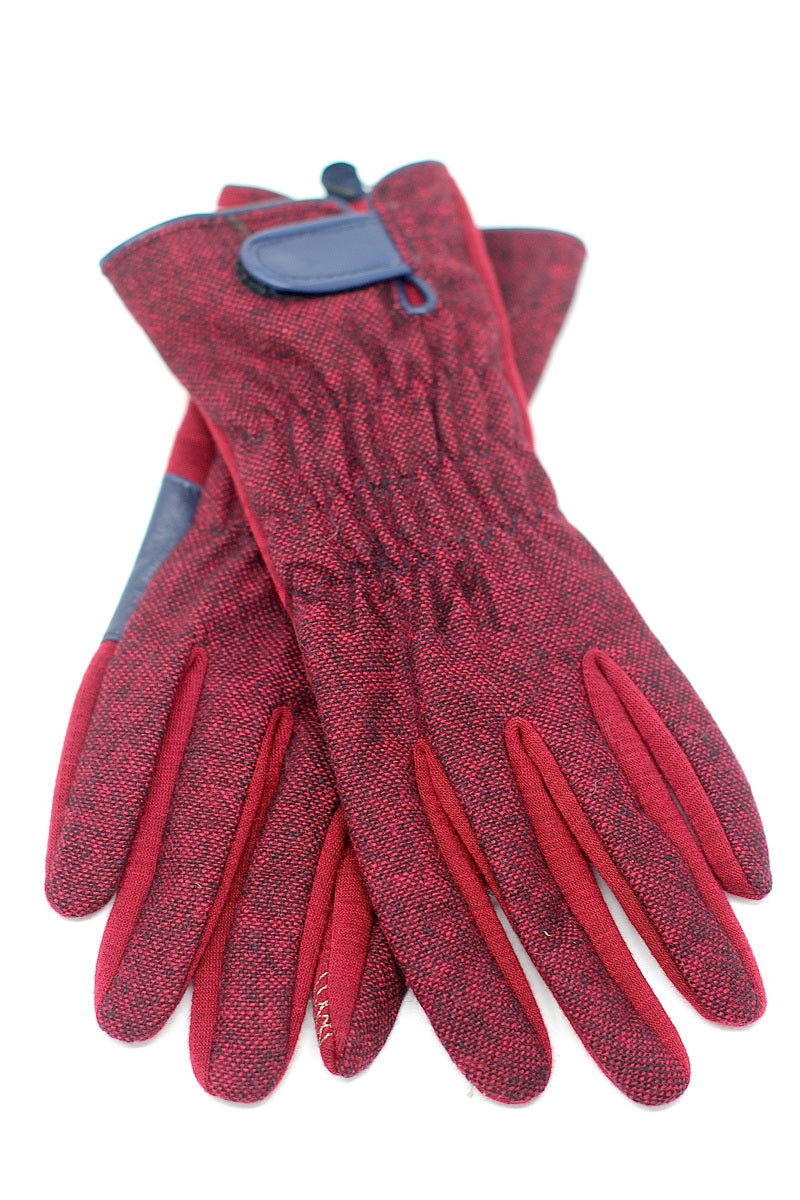 KNITTED BIRDS EYE BACK WITH LEATHER STRAP GLOVE