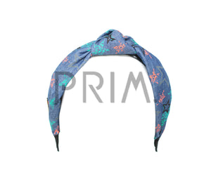 DENIM PRINTED KNOT HEADBAND WITH LEATHER EDGE
