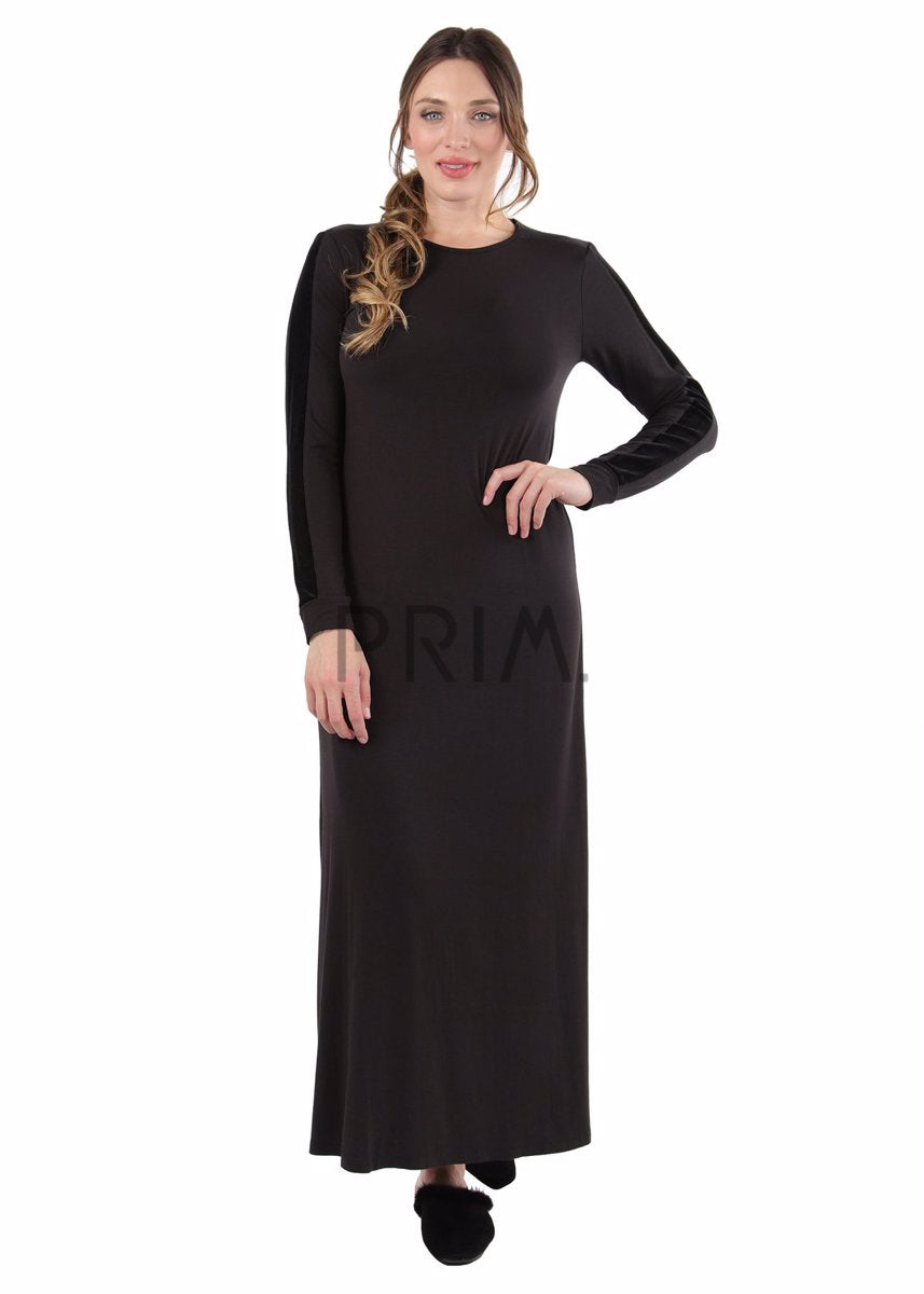 VELVET TRIMMED LONG GOWN
