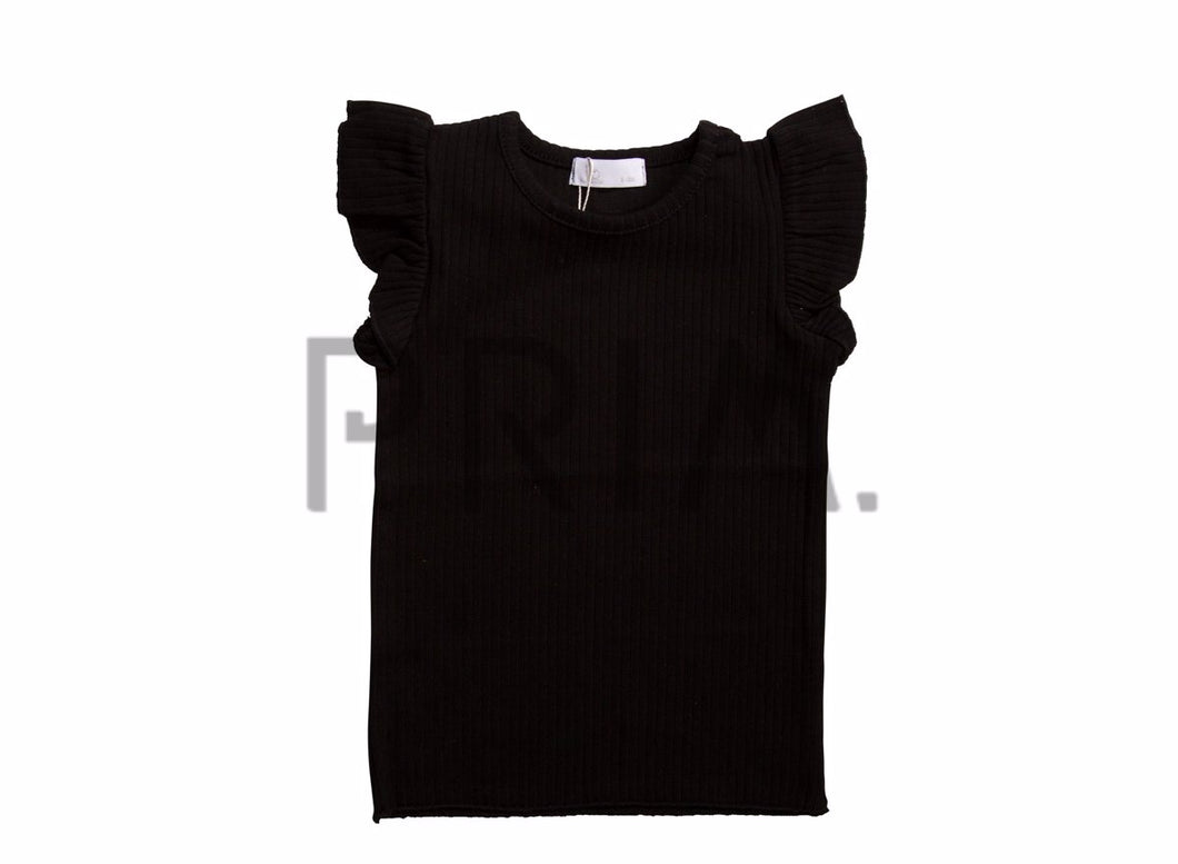 JB LONDON WIDE RIBBED FRILLED T-SHIRT