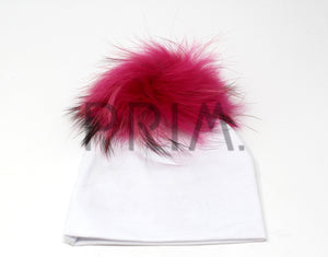 BABY HAT WITH FUR POM POM
