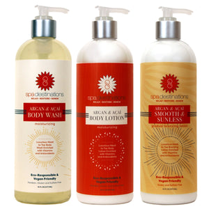ARGAN & AÇAÍ BODY WASH, BODY LOTION AND SMOOTH & SUNLESS GRADUAL BRONZER TRIO 16 OUNCE