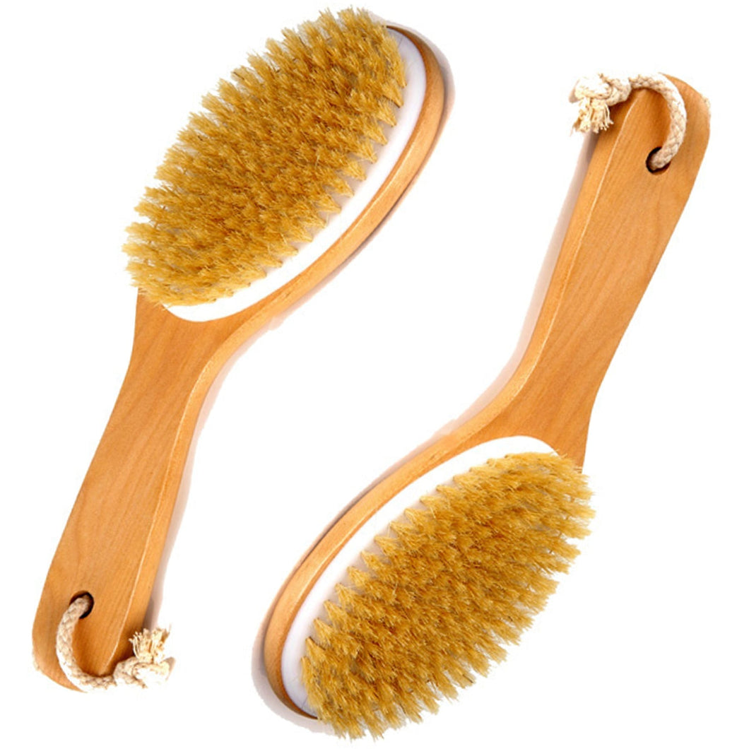 100% NATURAL BOAR BRISTLE BODY BRUSH (WET OR DRY) WITH WOODEN HANDLE (2) PACK