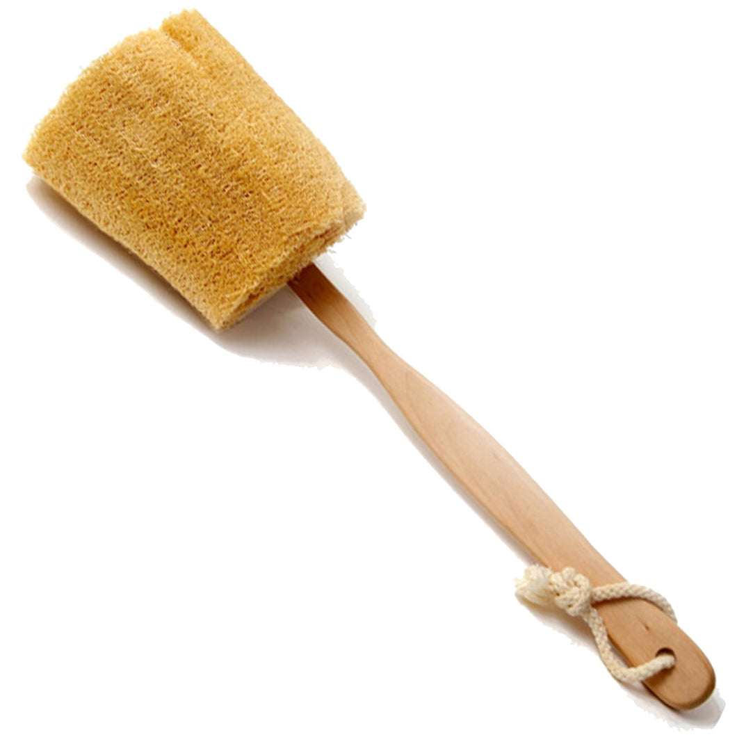 "ULTIMATE LOOFAH BACK BRUSH WITH DETACHABLE WOODEN HANDLE ""NATURAL RENEWABLE RESOURCE"""