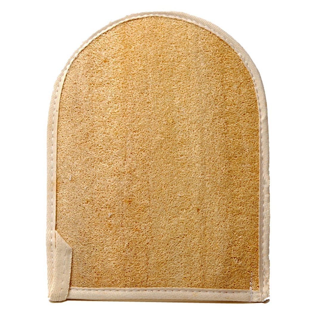 NATURAL LOOFAH EXFOLIATING BATH MITT W/TERRY BACK