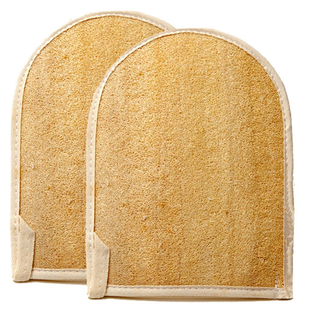 NATURAL LOOFAH EXFOLIATING BATH MITT W/TERRY BACK (2 PACK)