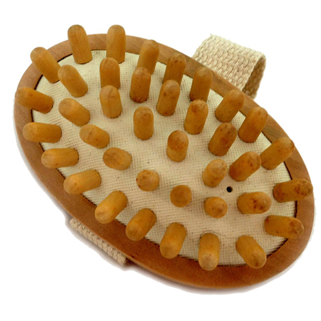 CELLULITE MASSAGE & CIRCULATION BRUSH WITH WOODEN HANDLE AND STRAP