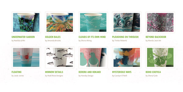 The Hansby Design BioCup alongside other coffee cup designs in the BioCup art series