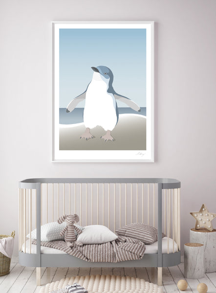 Photo of the A1 Framed art print of the little Blue Penguin in this lovely nursery