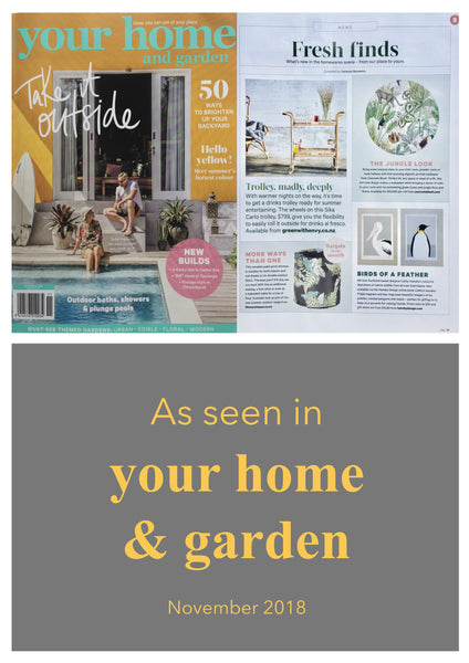 Spring Summer Your Home and Garden magazine 2018, featuring prints by Hansby Design of the Pelican and Emperor Penguin