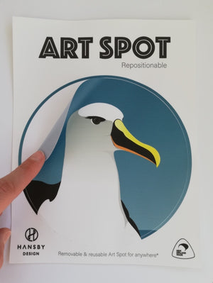 Art spot showing how they stick on
